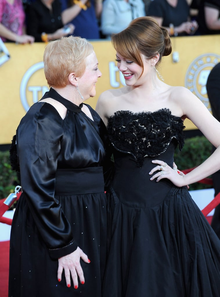 Emma Stone shared a precious moment with her mom on the red carpet in 2012.