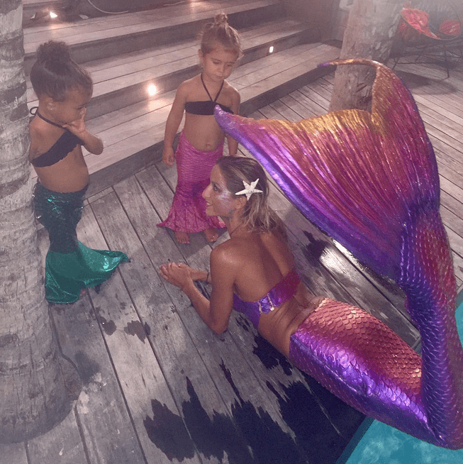 """North and Penelope dressed up like """"real"""" mermaids during a Summer 2015 vacation."""
