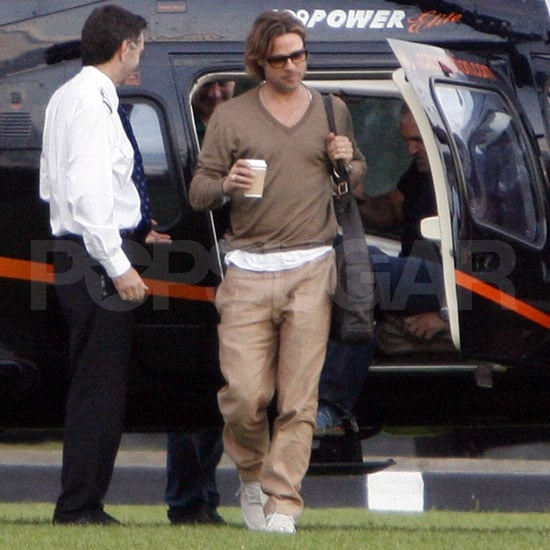 Brad Touches Down in London as Angelina Throws a Party For the Kids