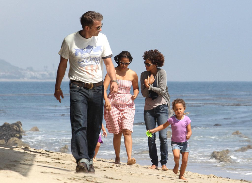 Halle Berry spent the day with her daughter, Nahla, and fiancé, Olivier Martinez, on the beach in Malibu.