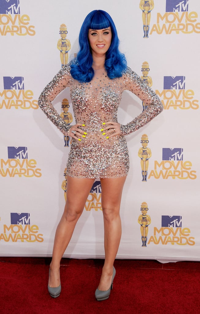 Katy wore a sheer, sparkly dress to the June 2010 MTV Movie Awards.