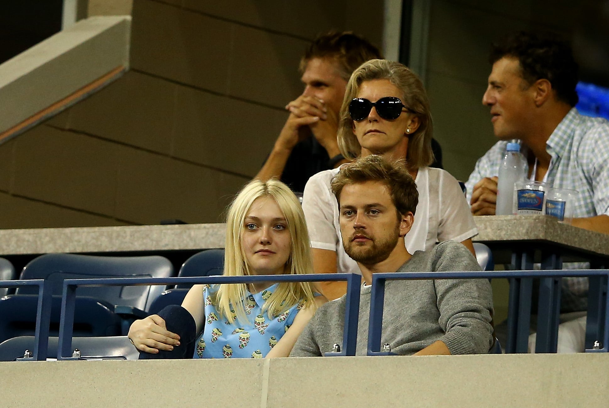 Dakota Fanning and her boyfriend, Jamie Strachan, cozied up in the stands of the US Open.