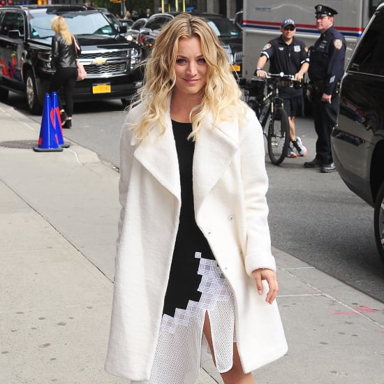 Kaley Cuoco Wearing Sneakers to Stephen Colbert