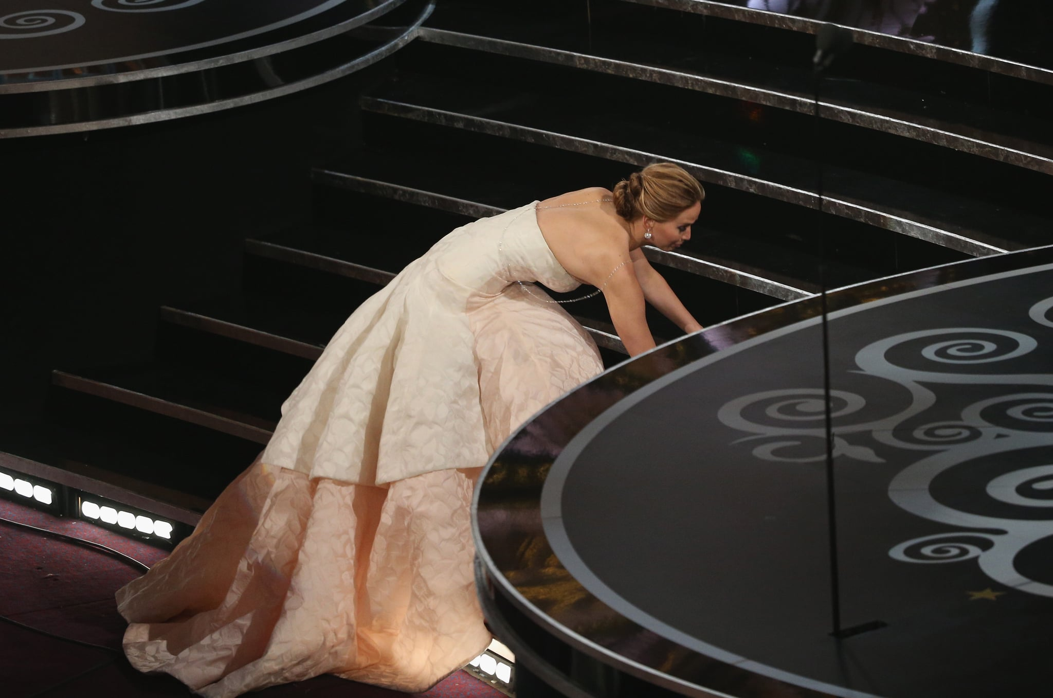 Jennifer Lawrence gracefully fell before accepting her best actress award at the Oscars 2013.