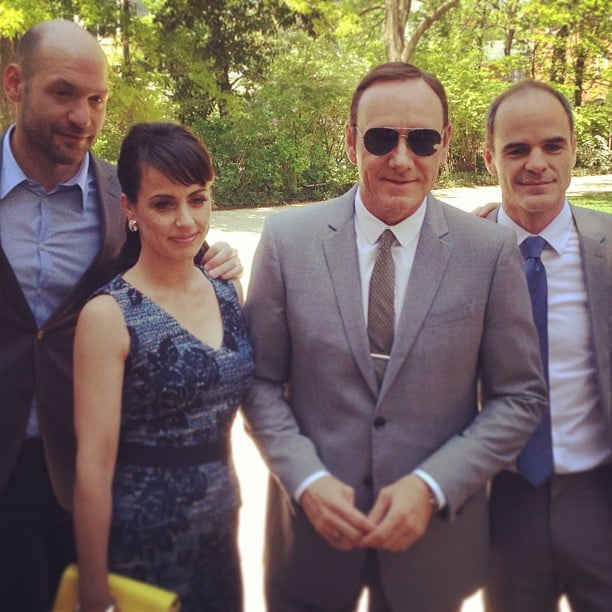 Kevin Spacey and his House of Cards costars posed for pictures before heading into the White House Correspondents' Brunch.