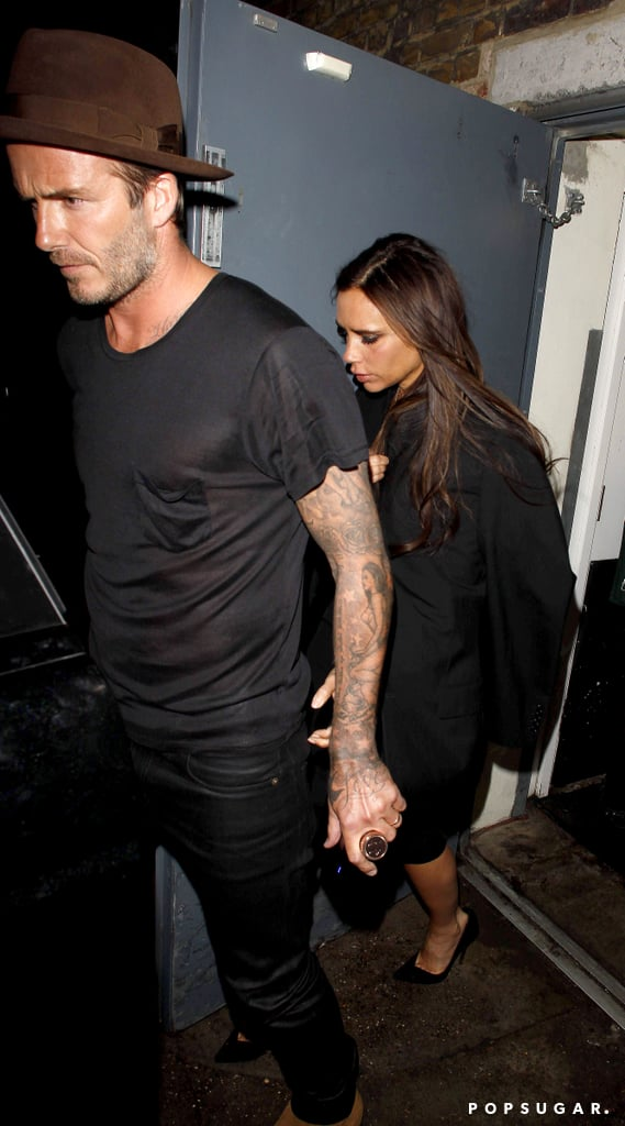 Victoria had David by her side as she left her belated birthday bash.