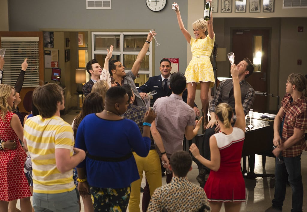April returns to celebrate with the glee club.