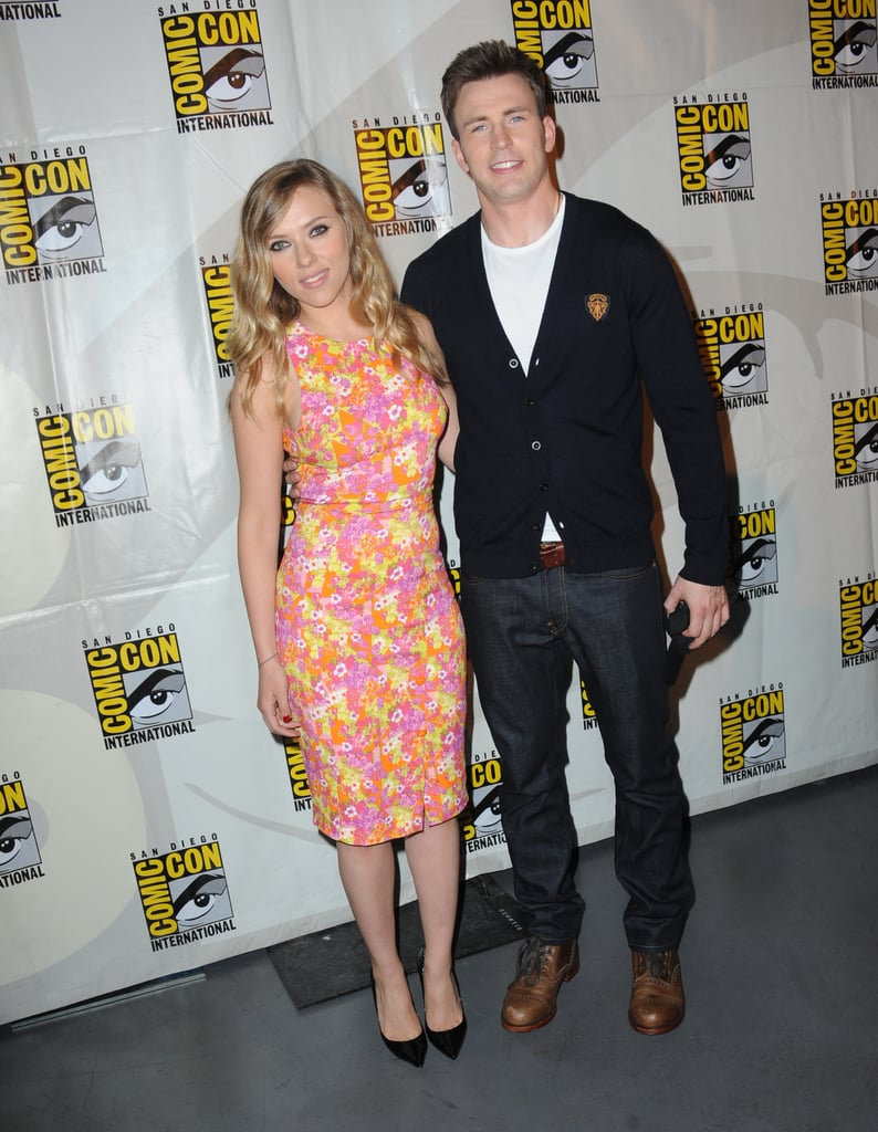 Scarlett Johansson posed with her fellow Captain America: The Winter Soldier star Chris Evans.