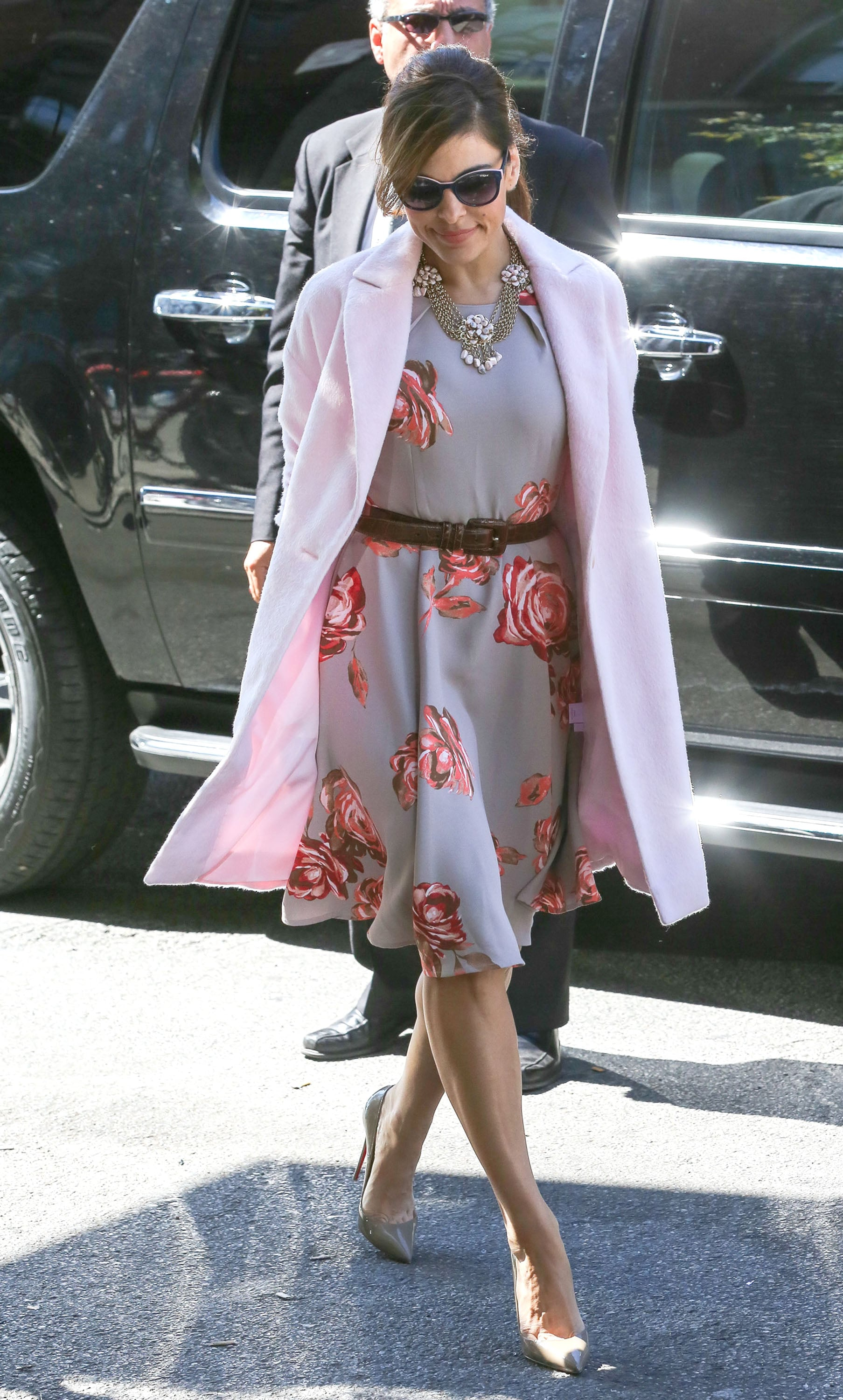 Donning one of her own blossoming creations from her New York & Co. collection, Eva Mendes looked picture-perfect in Fall 2013. Where to Wear: A moonlight stroll — complete with gelato.