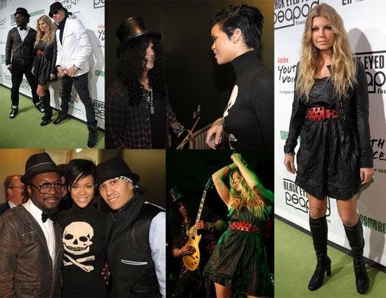 Photo of Fergie, Rihanna, Slash, and the Black Eyed Peas at the Black Eyed Peas Peapod Foundation Benefit