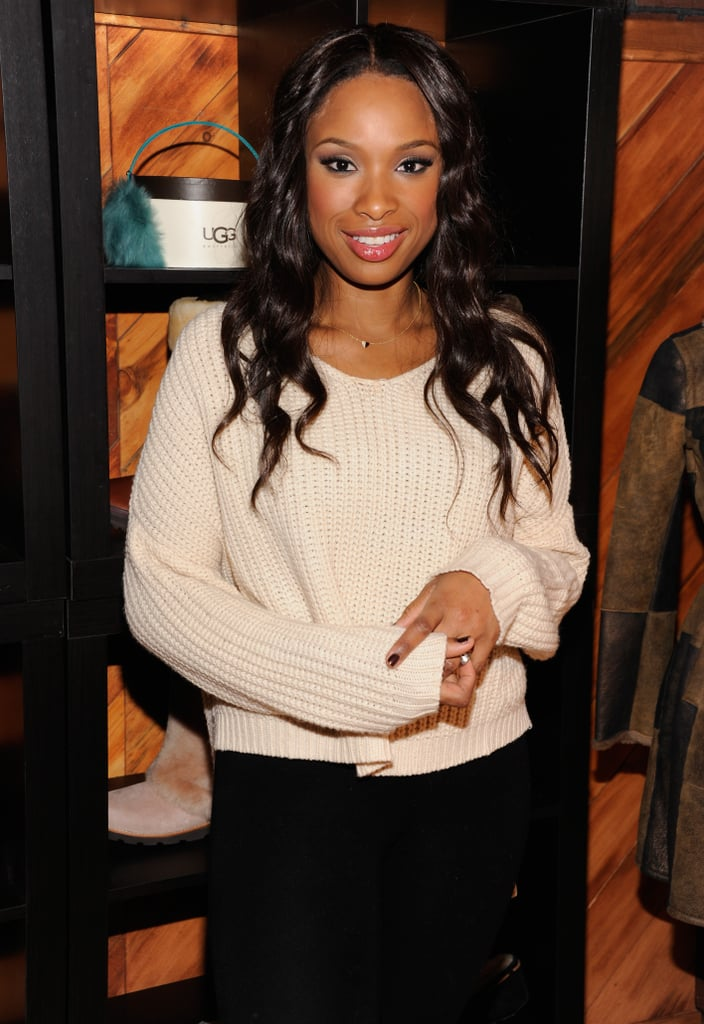 At the Sundance Film Festival, Jennifer Hudson showed off this Ariel Gordon Close to My Heart necklace ($550-$850) with a a cozy ivory sweater.