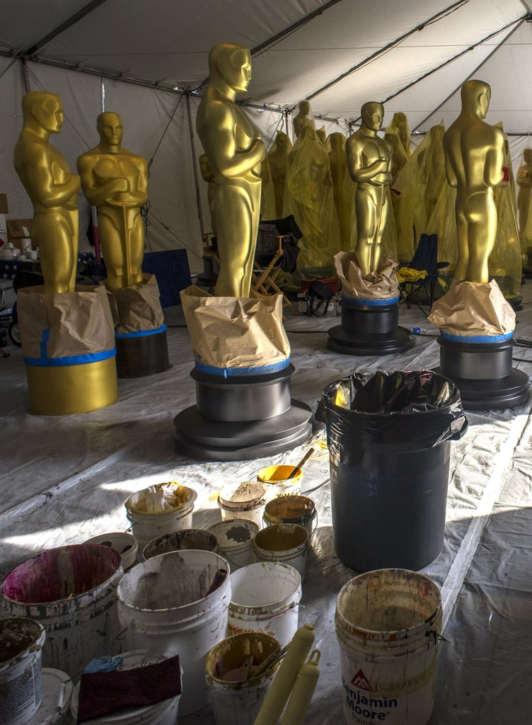 Finishing touches were made on oversize Oscars statues.