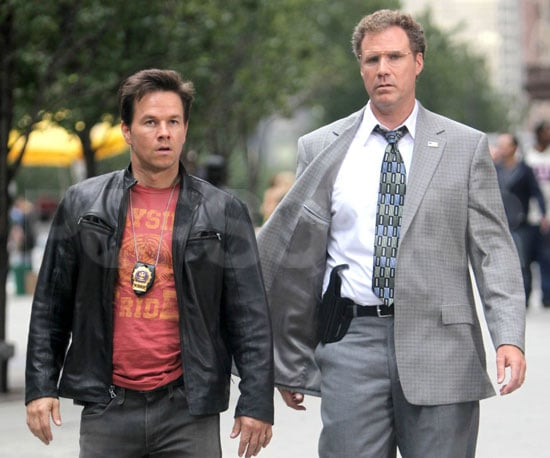 Slide Photo of Mark Wahlberg and Will Ferrell on The Other Guys Set