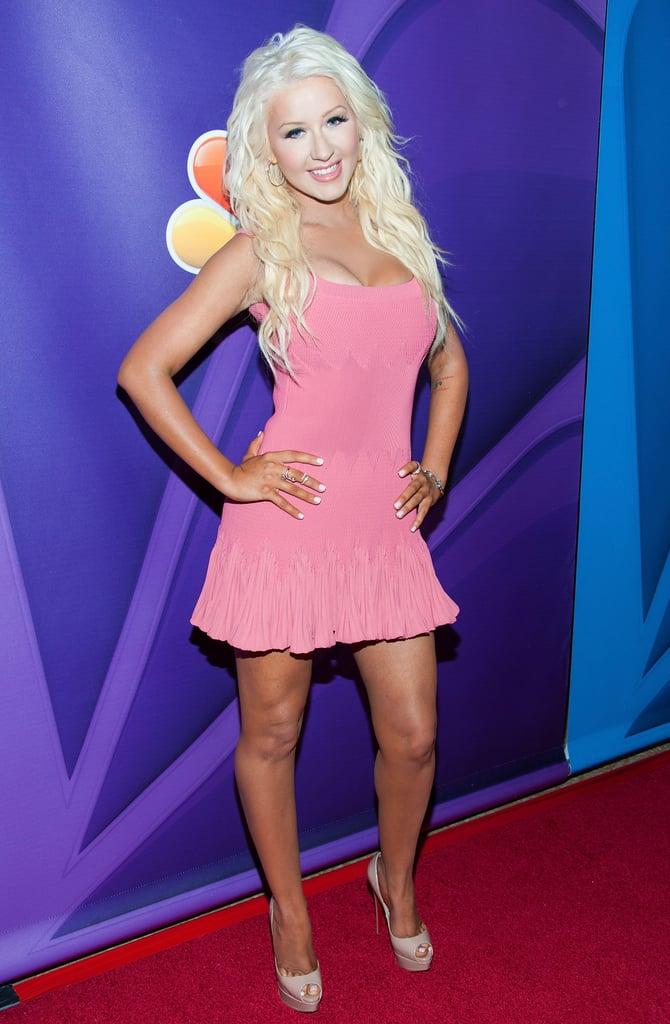 Christina Aguilera wore a pink dress to the Summer TCA Press Tour.