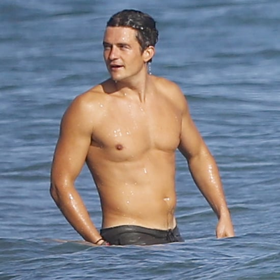 Orlando Bloom Shirtless at Beach October 2015