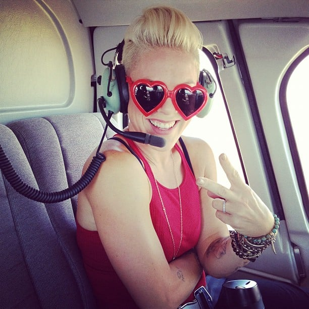 Pink flashed a peace sign from her helicopter. Source: Instagram user pink