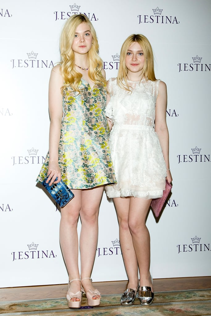 Elle and Dakota Fanning were utterly adorable in their respective styles at the J.Estina SS presentation in Korea. Elle opted for an A-line Opening Ceremony Resort 2013 dress and Miu Miu flatforms, while sister Dakota chose a white lace Nina Ricci dress and metallic Miu Miu loafers. Both looks make us want to fast-forward to Spring.