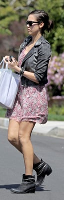 Jessica Alba Mixes Florals With Motorcycle Jacket
