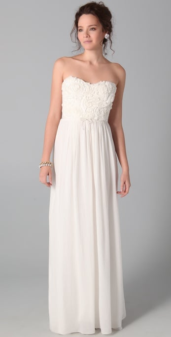 This afterparty dress would work just as well for the ceremony, but if you don't like the idea of going strapless in a church, slip into this pretty find to channel a romantic feel at the reception.  Rebecca Taylor Textured Rose Strapless Dress ($695)