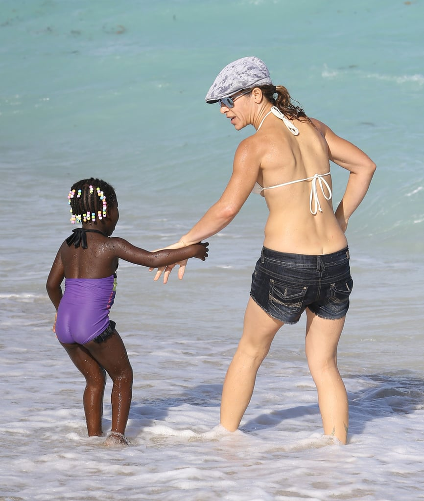 Jillian Michaels and her daughter, Lukensia, hit the beach in Miami.