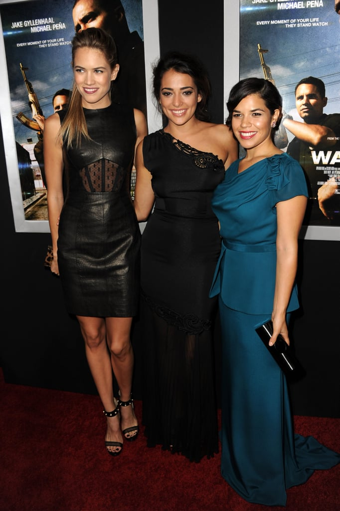 Cody Horn, Natalie Martinez, and America Ferrera linked up on the red carpet at the LA premiere of End of Watch.