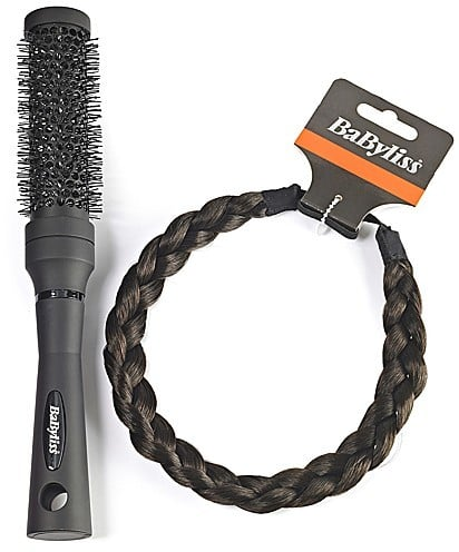 Babyliss Dark Brown Braided Headband and Ceramic Brush Set