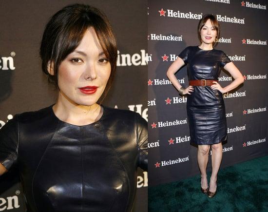 Lindsay Price Attends USC Music Video Program gala in LA in Leather Dress