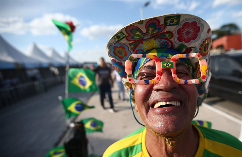 In São Paulo, fans posed for pictures ahead of the World Cup.