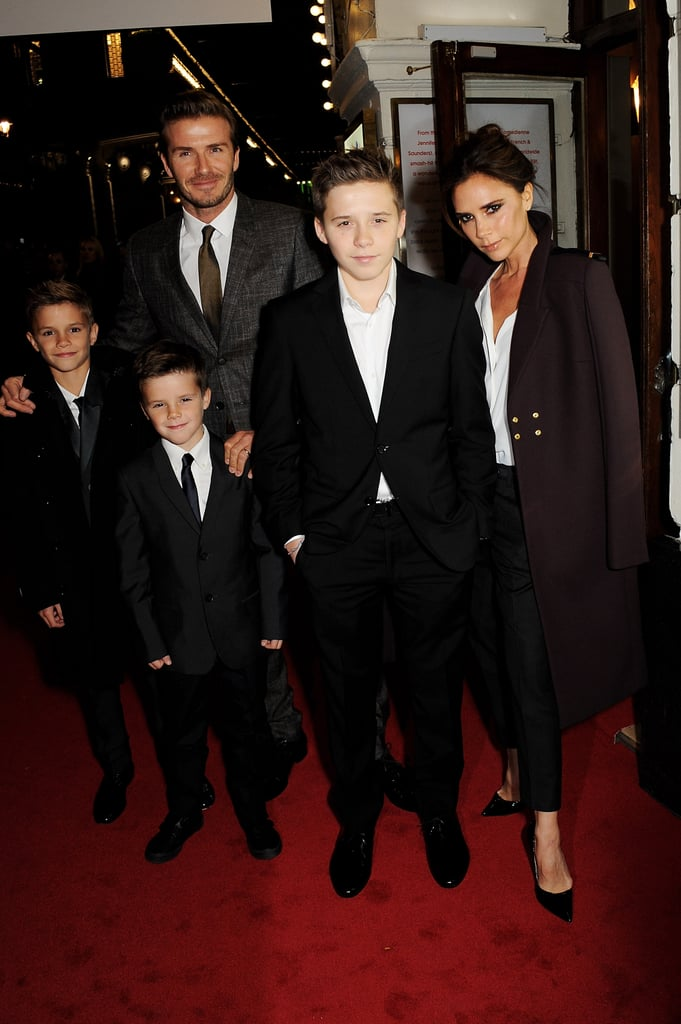 Victoria Beckham had the support of her family, David Beckham, Brooklyn Beckham, Romeo Beckham, and Cruz Beckham, to reunite with the Spice Girls in London.