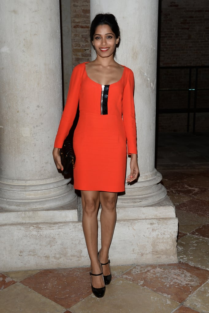 Freida Pinto was red hot at the Miu Miu Women's Tales dinner.