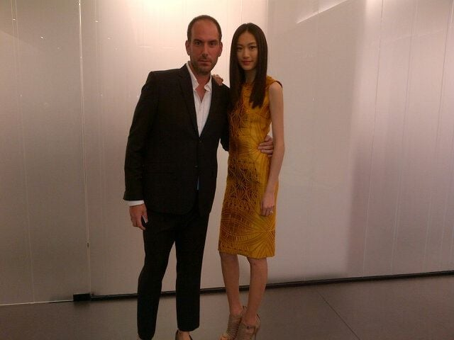 Vera Wang president Mario Grauso with model Shu Pei looking sharp.