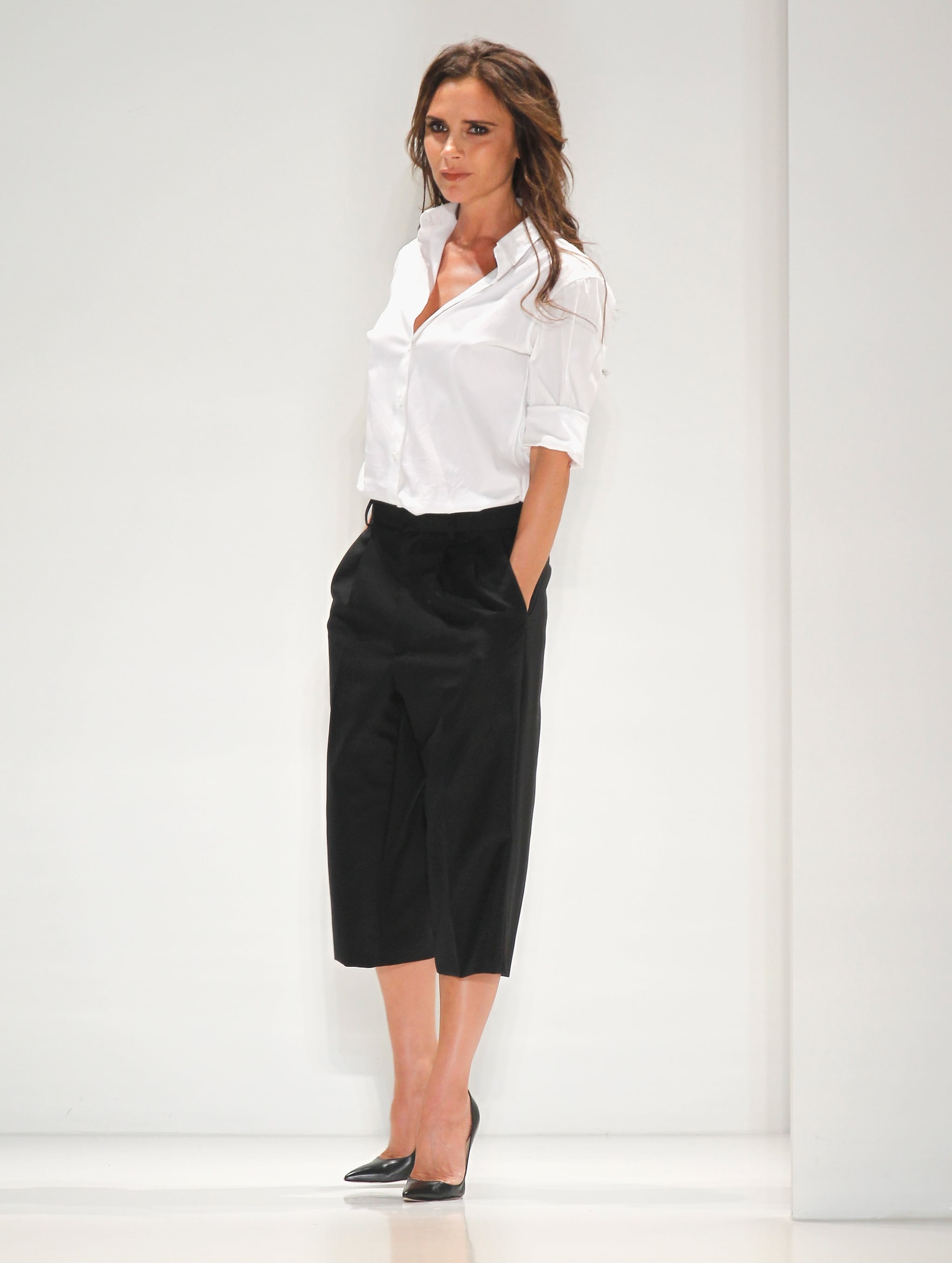 Victoria Beckham took the stage at her Spring 2014 runway show on Sunday.