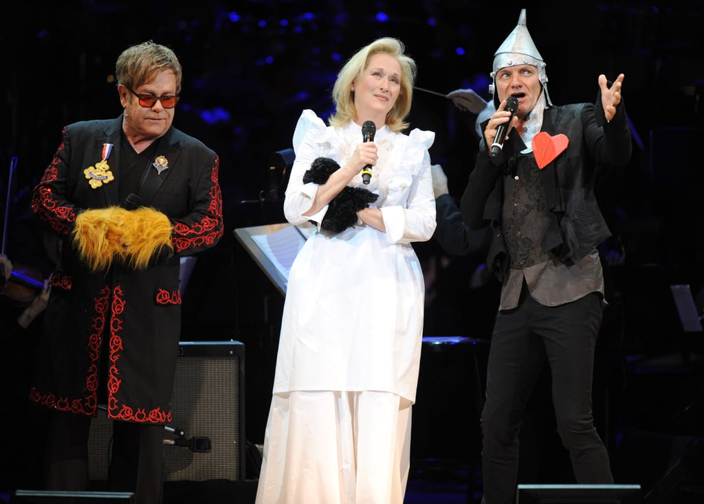 Meryl Streep, Elton John, and Sting performed together at the Revlon Concert for the Rainforest Fund at Carnegie Hall in NYC.