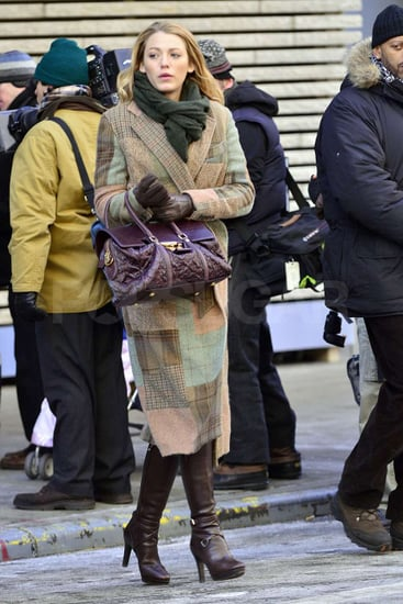 Pictures of Blake Lively Wearing Two Coats on the Set of Gossip Girl in NYC