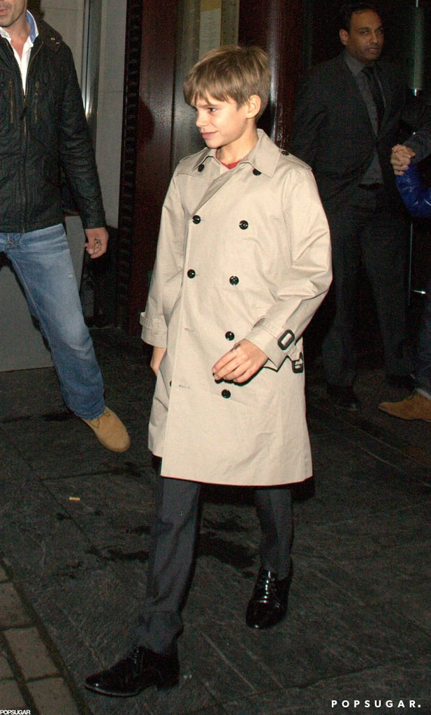 Romeo Beckham looked dapper in his stylish outfit while out to dinner with dad David Beckham, brothers Brooklyn and Cruz, and a friend.
