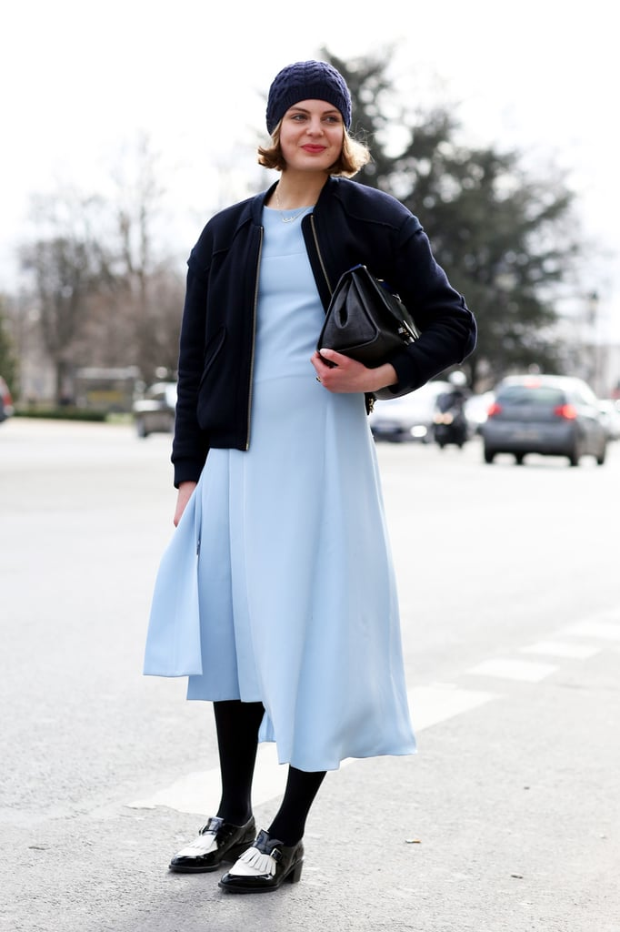 Pastels are girly in nature, but adding androgynous shoes will help pull back the pretty.