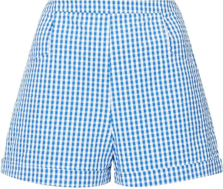 Topshop Gingham-Print Shorts