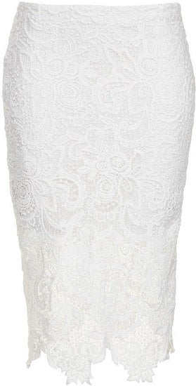 This Topshop White Lace Pencil Skirt ($100) would look amazing with a pair of lace-up heels and a silky button-down.