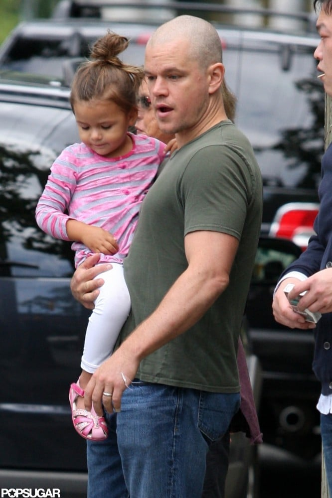 Matt Damon was joined by his daughter in July 2011 on the set of a movie in Canada.