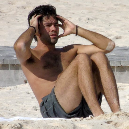 Adrian Grenier Working Out on the Beach   Photos