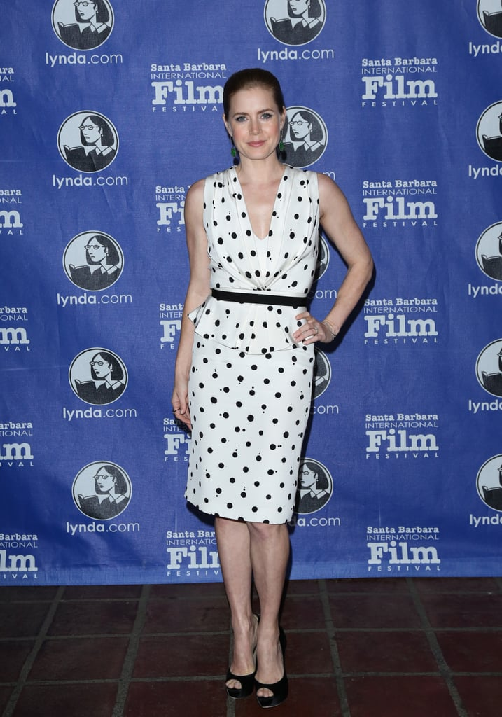 We can't think of a more adorable print for a bridal shower than polka dots. Need proof? Just look to Amy Adams's black-and-white knee-length dress.