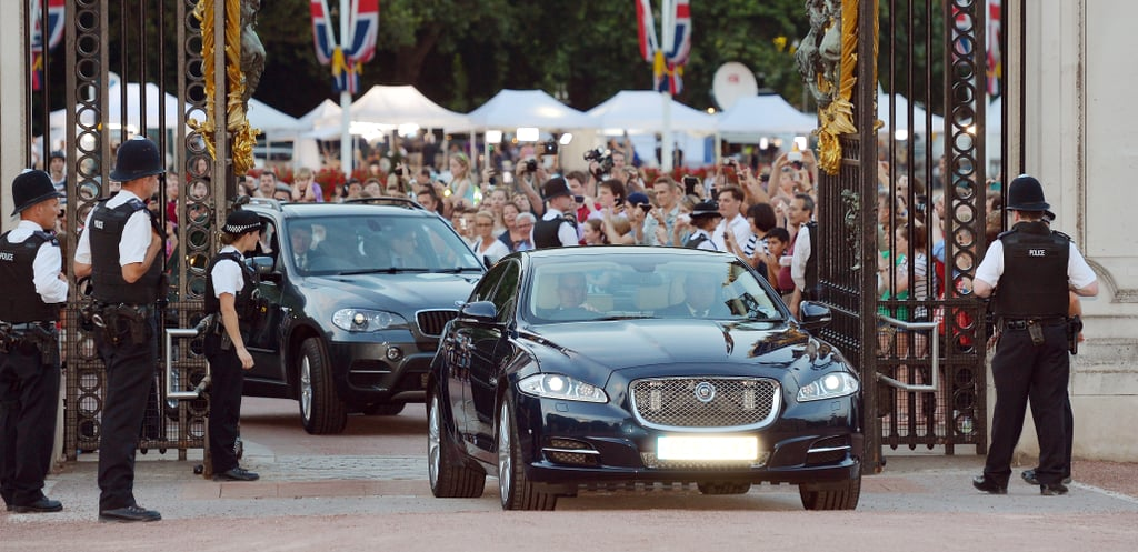 The official announcement was driven through the gates of Buckingham Palace to be placed on the easel.