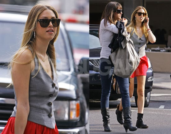 Photos of Whitney Port in Soho Wearing a Whitney Eve Red Skirt From Her Collection