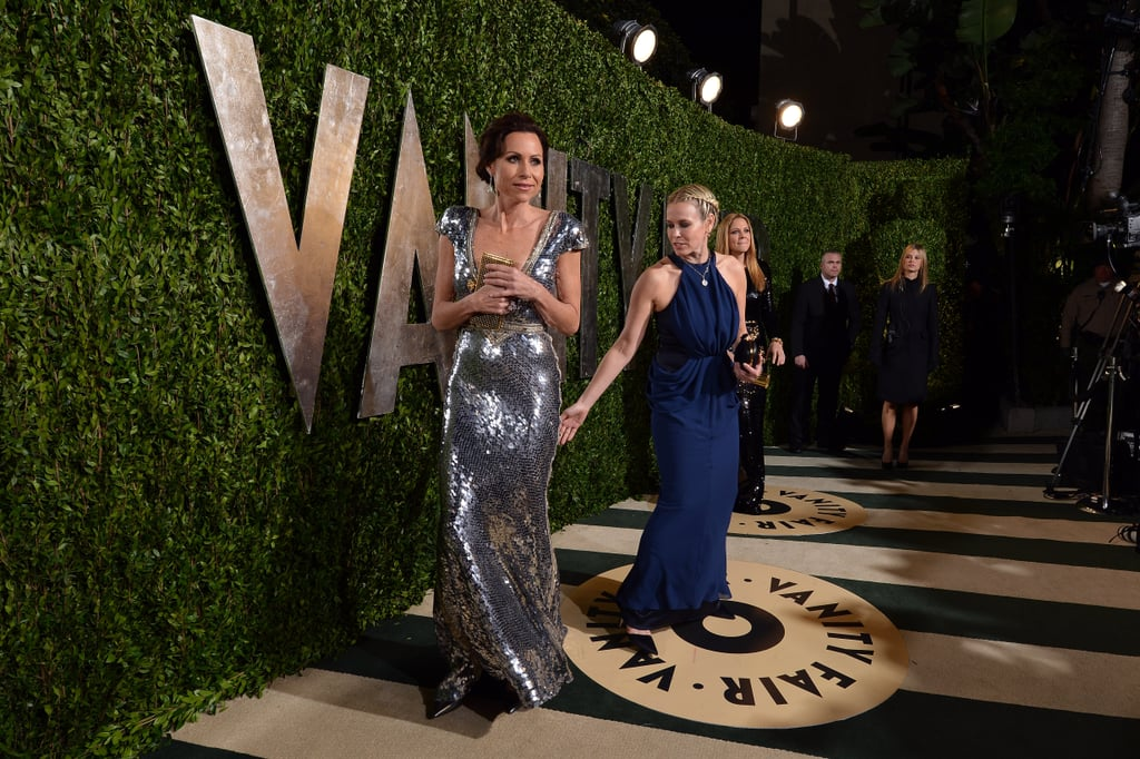 Chelsea Handler gestured toward Minnie Driver's pretty gown.