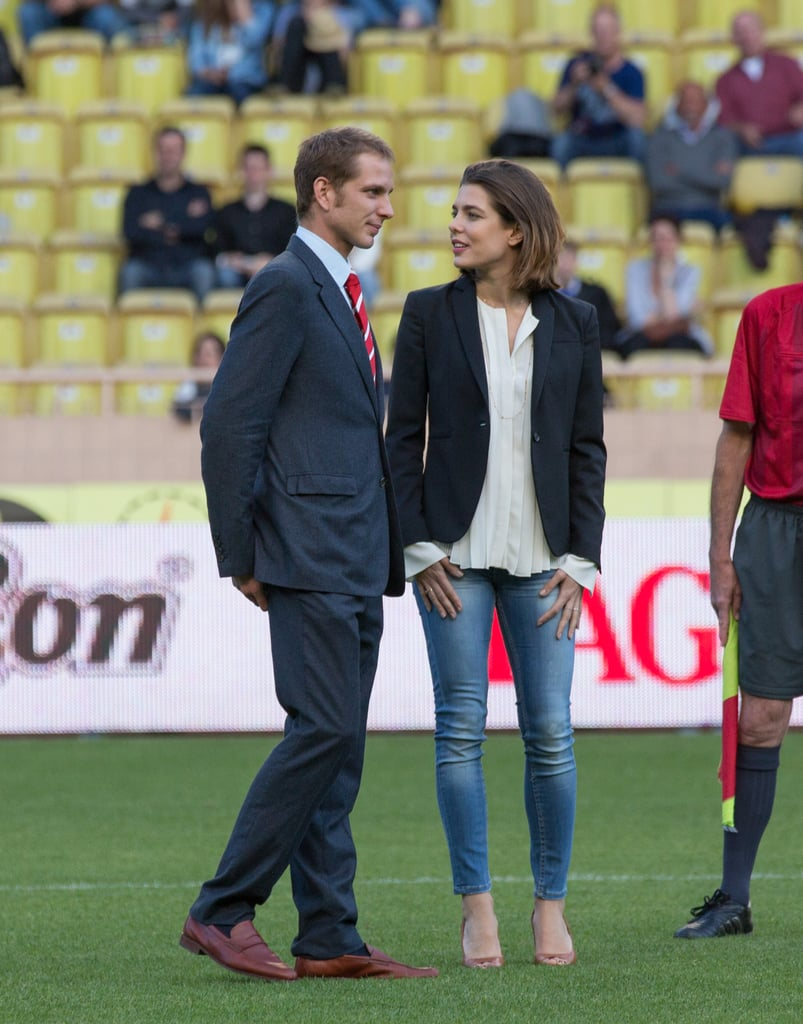 In May, Charlotte and her older brother, Andrea Casiraghi, attended the World Stars Football match in Monaco. Andrea, who is second in line to the throne and could succeed Prince Albert should Albert have no legitimate children, just had a son with heiress fiancée Tatiana Santo Domingo earlier this year. Should they marry, their son, Sacha, would be third in line to the throne.