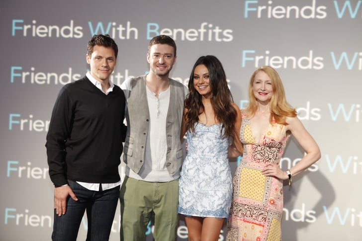 Justin Timberlake and Mila Kunis were joined by Friends With Benefits director Will Gluck and costar Patricia Clarkson for a Sony press event.
