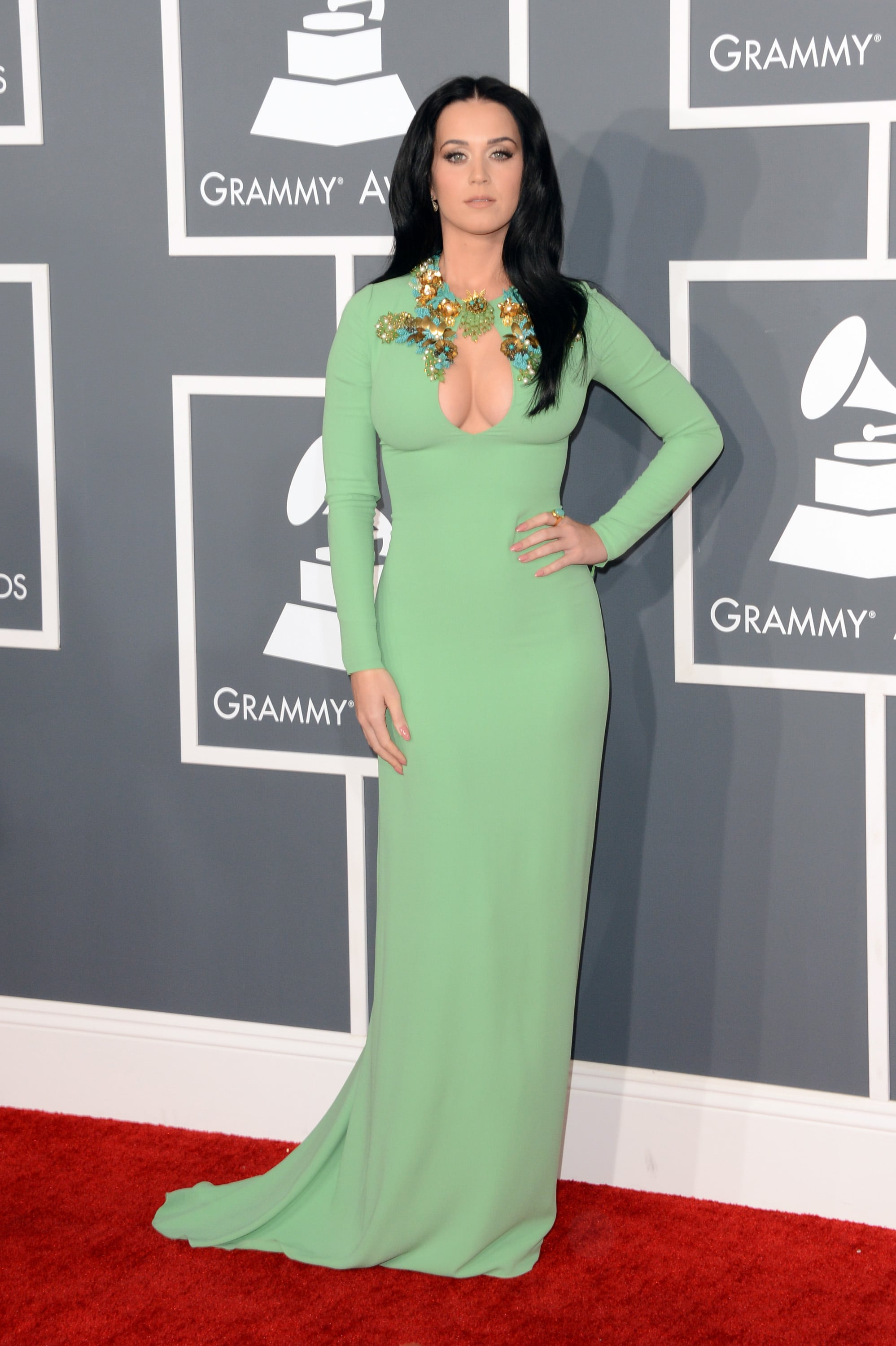 Katy Perry wore a green gown for the Grammys.