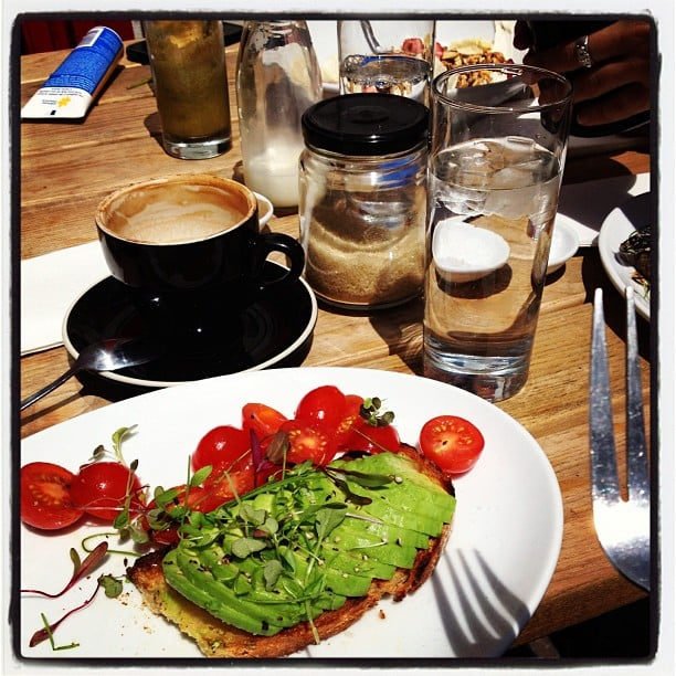 Weekdays off means Gen gets to enjoy long meals in the sun with friends — this Tuesday breakfast in Manly involved avocado, cherry tomatoes and fresh herbs. Yum.