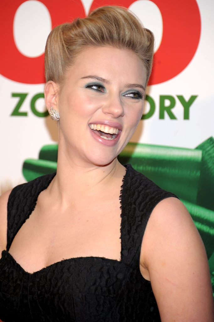 Scarlett Johansson laughed when she arrived at We Bought a Zoo in NYC.