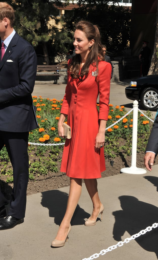 Kate Middleton wore a red suit and her maple leaf pin as she left Canada.